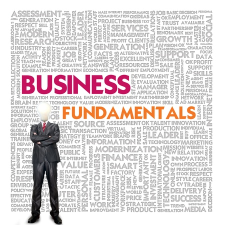 Business word cloud for business and finance concept, Business Fundamental photo