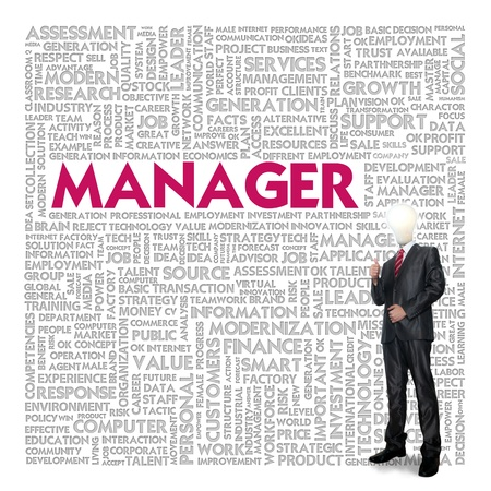 Business word cloud for business concept, Manager photo