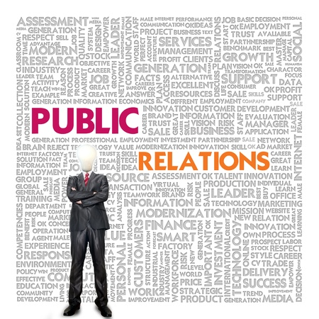 public relations: Business word cloud for business concept, Public relations Stock Photo