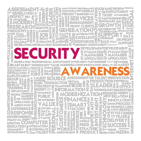aware: Business word cloud for business concept, Security Awareness