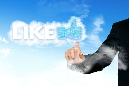 Thumb up like hand symbol with tag cloud of word on the sky Stock Photo - 14107332