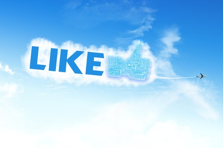 Thumb up like hand symbol with tag cloud of word on the sky Stock Photo - 14107327
