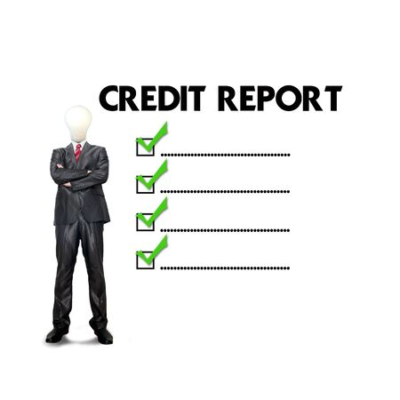 borrower: Business man mark on the check boxes credit score