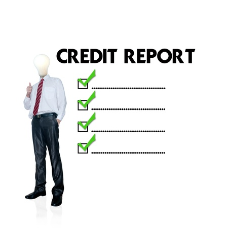 fico: Business man mark on the check boxes credit score