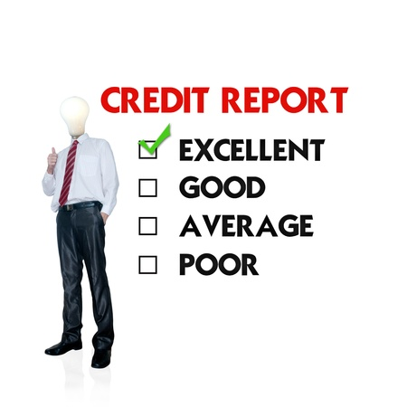 credit report: Business man mark on the check boxes credit score
