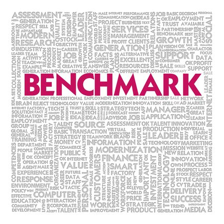 Business word cloud for business concept, Benchmark Stock Photo
