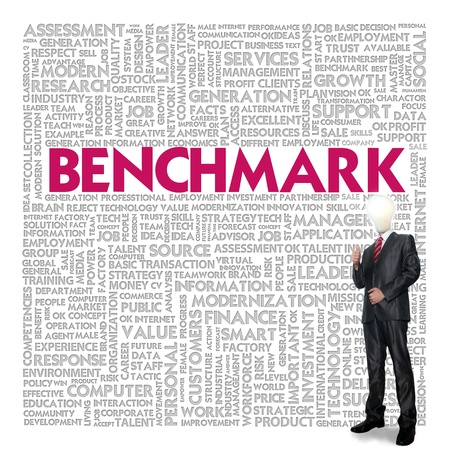 motivating: Business word cloud for business concept, Benchmark Stock Photo