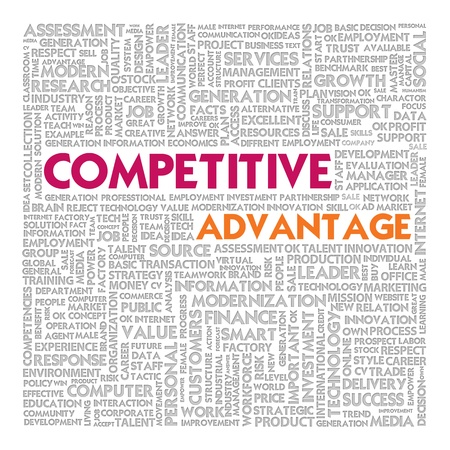 lower value: Business word cloud for business concept, competitive advantage