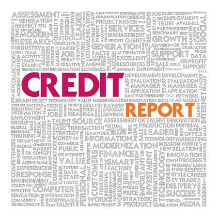 credit report: Business word cloud for business concept, Credit Report Stock Photo