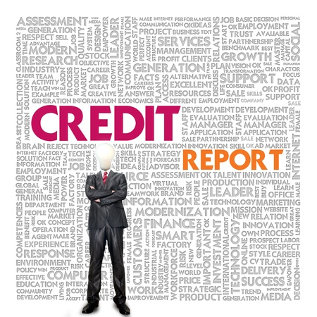 personal record: Business word cloud for business concept, Credit Report Stock Photo