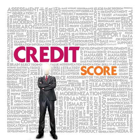 credit score: Business word cloud for business concept, Credit Report Stock Photo
