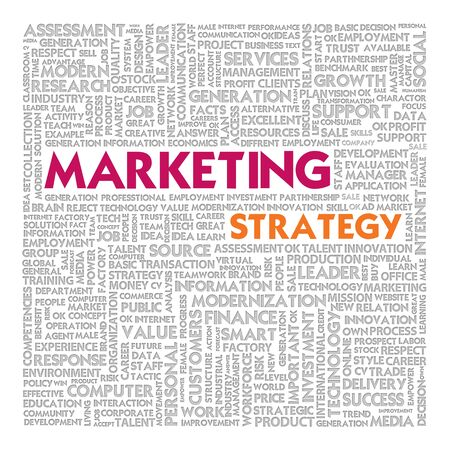 relationsip: Business word cloud for business concept, Marketing Strategy Stock Photo