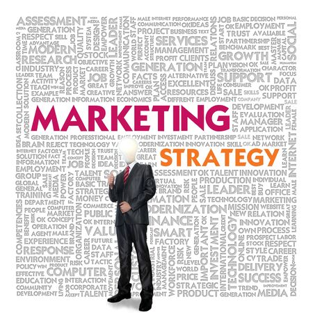 cohesive: Business word cloud for business concept, Marketing Strategy Stock Photo