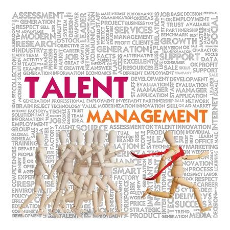 talents: L'homme en bois de fonctionner sur la foule pour le concept de ressources humaines, la gestion des talents