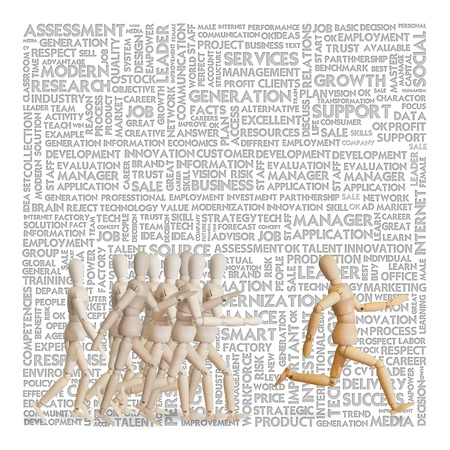 leadership abstract: Wooden man run over the crowd for Human Resources concept, talent management