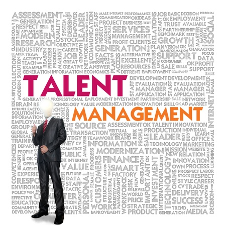 career coach: Business word cloud for business concept, Talent Management Stock Photo