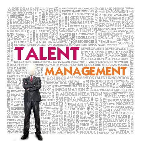 Delegation: Business word cloud for business concept, Talent Management Stock Photo