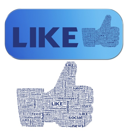 Thumb up like hand symbol with tag cloud of word photo