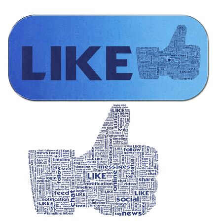 Thumb up like hand symbol with tag cloud of word Stock Photo - 14107479