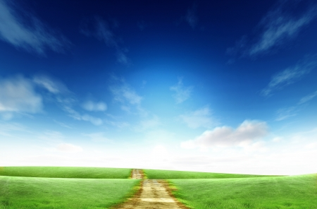 Landscape road side on the green grass Stock Photo - 14107448