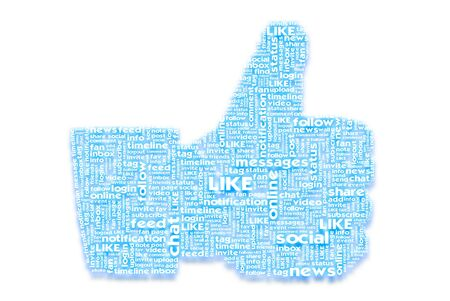 Thumb up like hand symbol with tag cloud of word on paper texture background photo