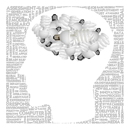 speach: Blank head with brain speach and Word cloud outside for business concept