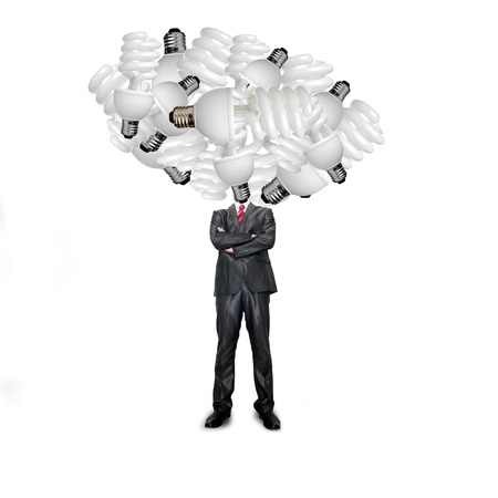 Business man with bulb Stock Photo - 14474825
