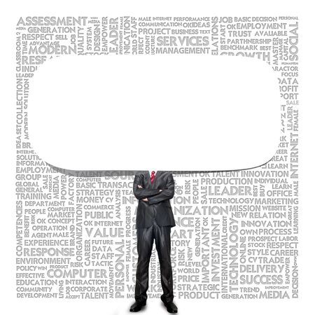 Business man and Blank speech bubble on background photo