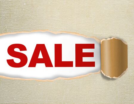Sale discount advertisement on the paper texture background - Hole with texts photo