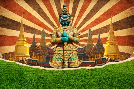 Giant at the temple for Travel concept, Bangkok Thailand photo