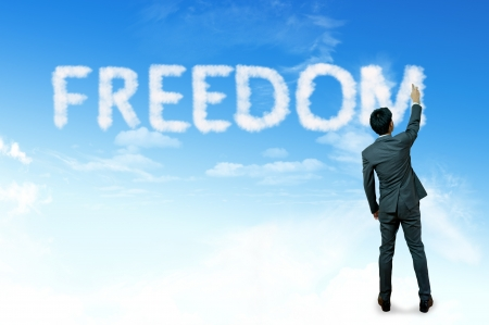 Businessman drawing cloud for business concept, Freedom Stock Photo - 14645572