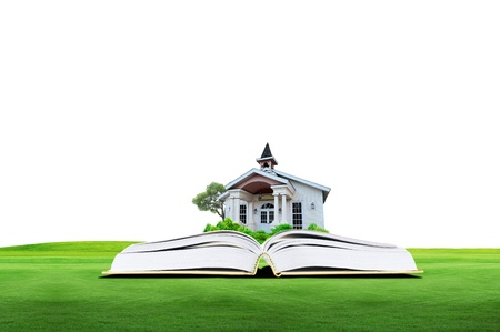 House on green book over the cloud with white background Stock Photo