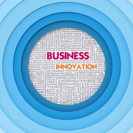 Business word cloud for business and finance concept, Business Innovation photo