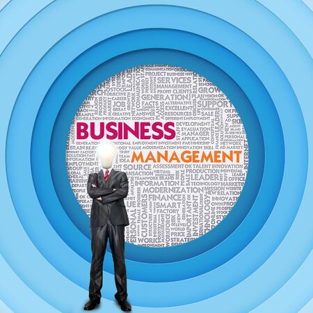 human representation: Business word cloud for business and finance concept, Business Management Stock Photo