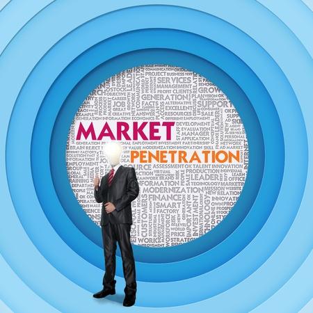 penetracion: Empresas nube de palabras para el concepto de negocios, penetraci�n en el mercado