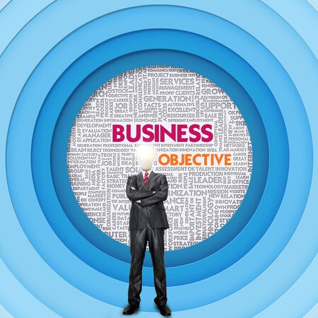 Business word cloud for business and finance concept, Business Objective photo