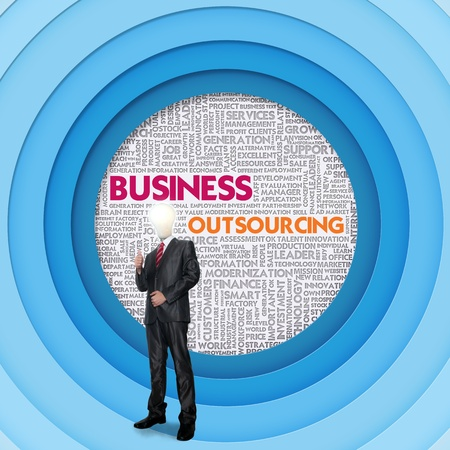 outsourcing: Business word cloud for business concept, Outsourcing