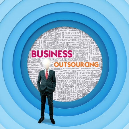 Business word cloud for business concept, Outsourcing photo