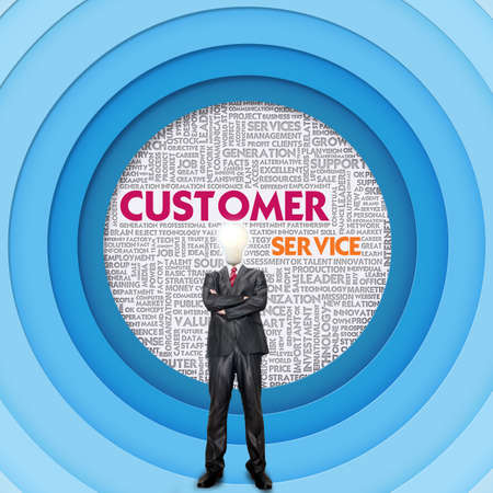 man customer support: Business word cloud for business and finance concept, Customer Service