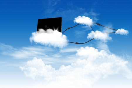 Colud computing concept on the blue sky photo