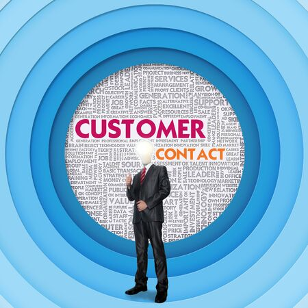 contact centre: Business word cloud for business concept, Customer Contact Stock Photo