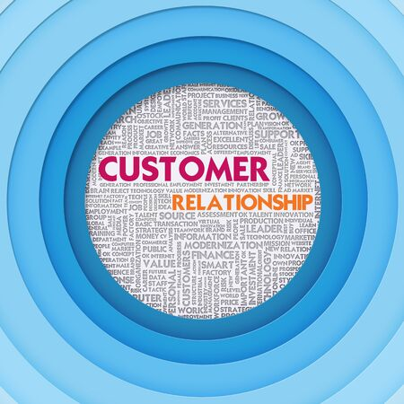professional relationship: Business word cloud for business concept, Customer Relationship Stock Photo