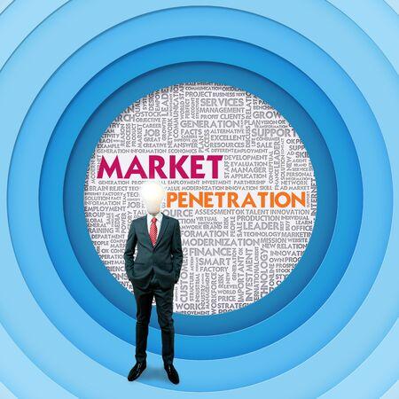 apalancamiento: Negocios nube palabra para el concepto de negocio, penetración en el mercado