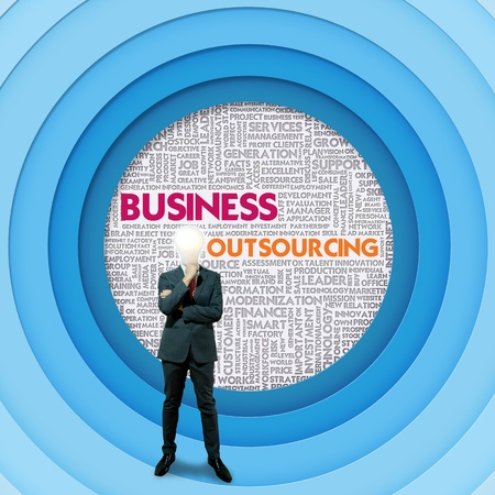 outsourcing: Business word cloud for business concept, Business Outsourcing