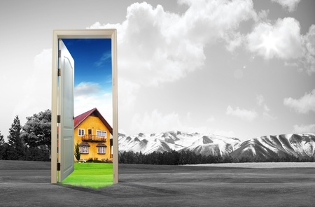 vision concept: Door open to the new world, for environmental concept and idea Stock Photo