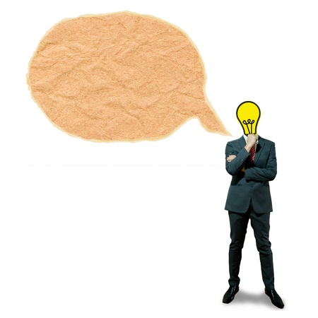 Business man with bulb head on the bubble screen background photo