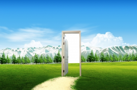 open doorway: Door open to the new world, for environmental concept and idea Stock Photo