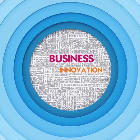 Business word cloud for business concept, Business Innovation photo