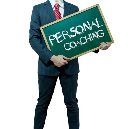 persoonlijke groei: Business man die plank op de achtergrond met het bedrijfsleven woord, Career Stockfoto