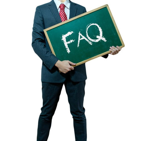 Business man holding board on the background with business word, FAQ Stock Photo - 15356344